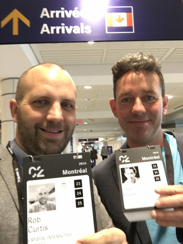 Chris and Rob at C2 Crystal Interactive klik smart wearables badge
